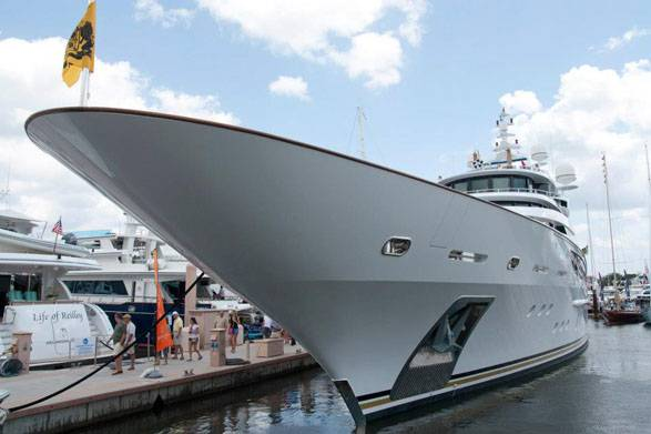 Huge Yacht at Board Show in Palm Beach