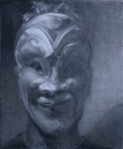"Shaun Roberts, Mask 2, Graphite on panel, 16""x14"" 2012"