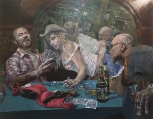 "Shaun Roberts, Card Sharps, oil on canvas 60""x84"" 2016"