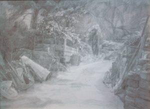 "Shaun Roberts, Junkyard, graphite on paper 24""x30"" 2014"