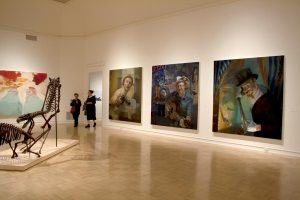 "Shaun Roberts, Gallery View of Straight Shooter, Troubadour and Hornswoggler Oil on canvas each piece is 92""x86"" 2012"