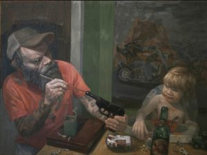 "Shaun Roberts, Son of a Gun, oil on canvas, 30""x40"", 2014"