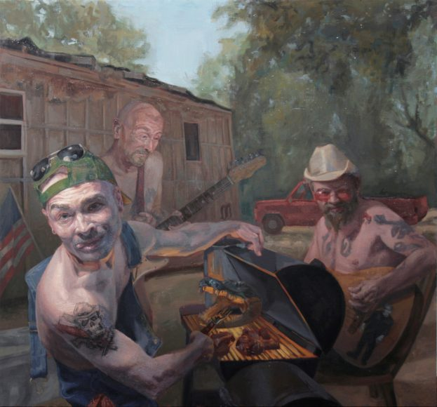 "Shaun Roberts, Shuckin' and Jivin' oil on canvas 50""x 53"" 2014"
