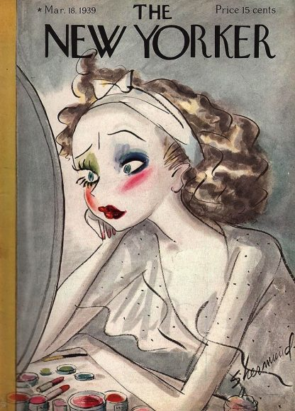 "Barbara Shermund, ""Woman having a make-up quandary,"" The New Yorker cover, March 18, 1939"