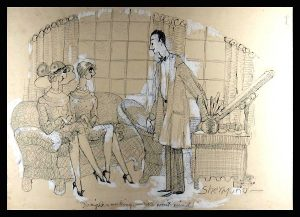 Barbara Shermund, Go right on working - We won't mind!, ink on paper, for the New Yorker Magazine, June 4, 1927 issue.