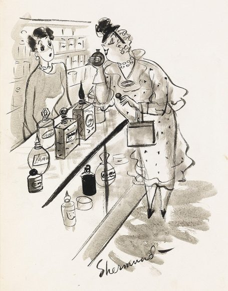 "Barbara Shermund, ""Nothing special, thanks – just smelling."" 17.5 x 14″. Published in The New Yorker August 19, 1939."