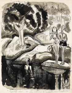"""Good Lord, it's raining,"" Ink and wash cartoon on paper. 17 1/2x14 inches. Signed in ink, lower right and captioned in pencil. Likely submitted to The New Yorker. Circa 1940."