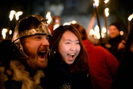 Viking and Lady Friend on New Year's Eve